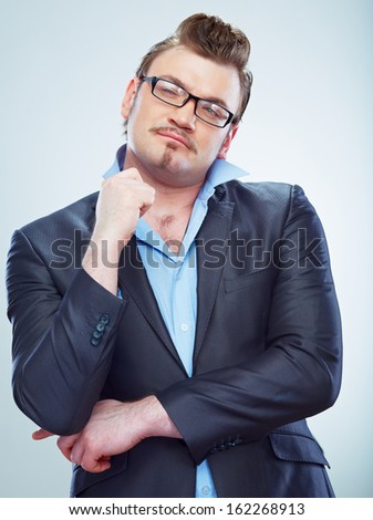 Business man funny portrait. Isolated. Male model.