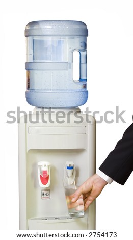 Business man getting a cold, refreshing drink from the office water cooler. Isolated on white.