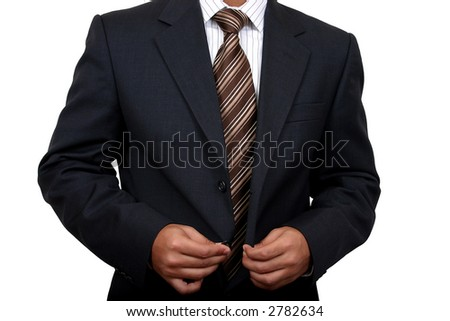 Business man getting ready to go to office (1) with clipping path