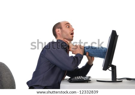 business man getting strangled by the computer