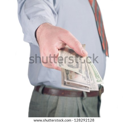 business man giving a money