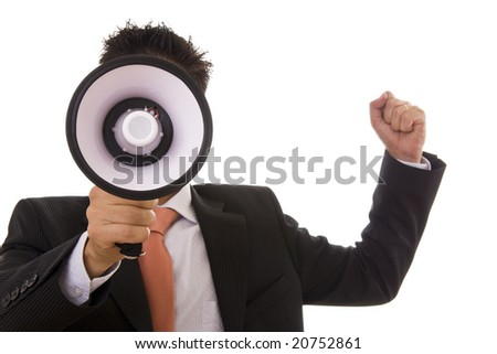 Business man giving an order with a megaphone - selective focus