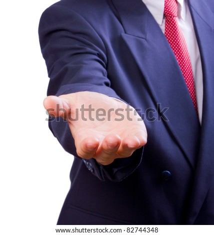 business man giving hand