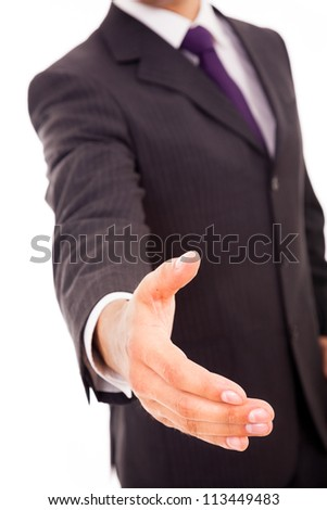 Business man giving handshake, isolated on white