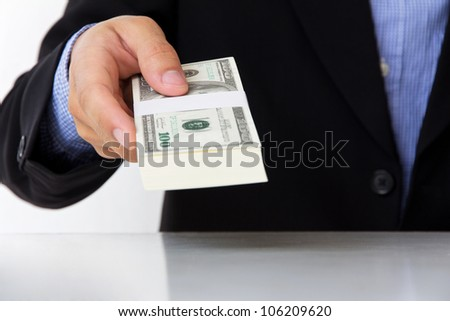 business man  giving money
