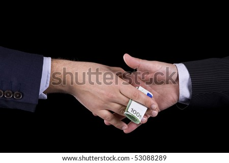 Business man giving to another a euro banknote - stock photo