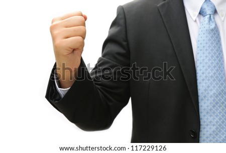 Business man hand doing  something on white background