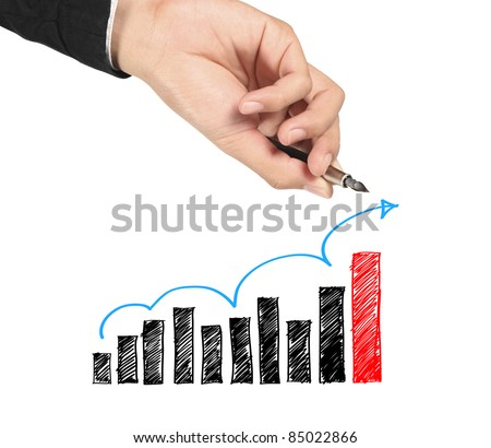 Business man hand drawing blue arrow up graphs