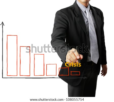Business man hand drawing crisis a graph