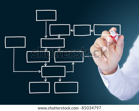 business man hand drawing  diagram