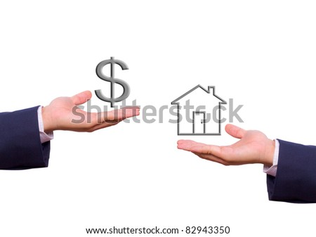 business man hand exchange dollar sign and house icon