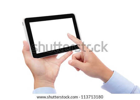 business man hand finger touch pc with empty white screen for copy space isolated on white background (Path in the image)