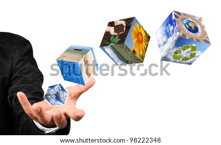 Business man hand holding with nature image and recycle sign isolated on white