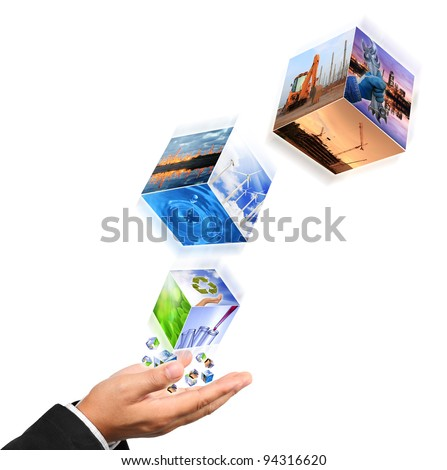 Business man hand holding with recycle symbol image , industry image and buildings image isolated on white #94316620