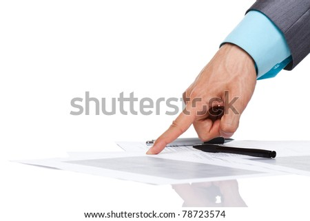 business man hand in elegant suit point finger at the document, paper on the desk, sign up contract concept. Isolated over white background. with empy copy space for text.