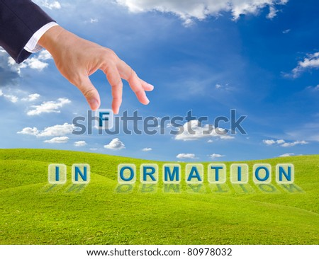 business man hand made information word buttons on green grass meadow