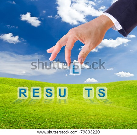 business man hand made results word buttons on green grass meadow