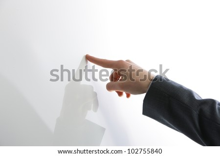Business man hand point on blank touch screen,. Copy space