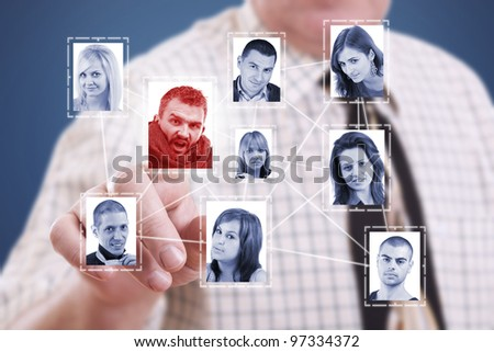 business man hand pressing Social network pictures