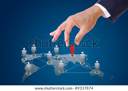 business man hand pushing people to social network