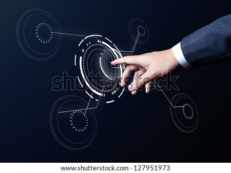 business man hand touch on media circle