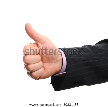 Business man hand with thumb up. Isolated on withe background..