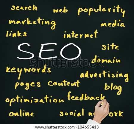 business man hand writing internet marketing concept of search engine optimization ( SEO )