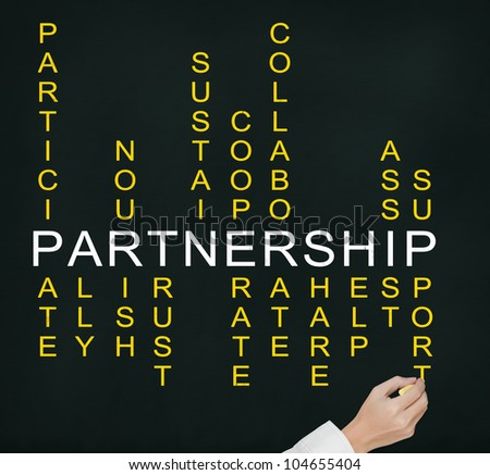 business man hand writing partnership concept by crossword of relate word such as ally, sustain, help, support, assist, share, etc.