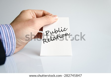 Business man hand writing Public relation