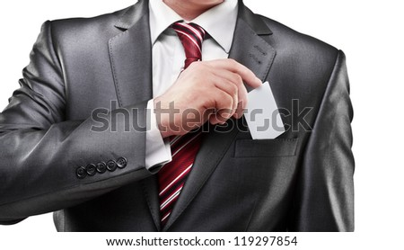 Business man handing a blank business card isolated on white background High resolution