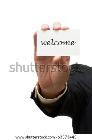 Business man handing a welcome business card over white background