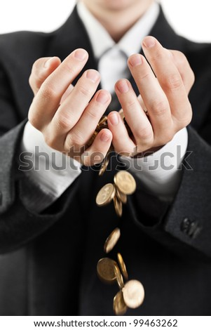 Business man hands holding finance currency coins