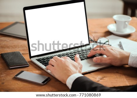 Business man hands typing on laptop pc #771080869