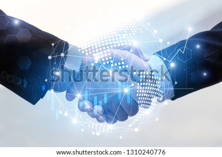 business man handshake with effect global world map network link connection and graph chart of stock market graphic diagram, digital technology, internet communication, teamwork, partnership concept #1310240776