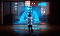 Business man having a video call with his partner on a hologram in living room. Live conversation online. Business meeting online.