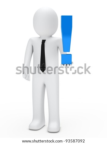 business man hold a blue exclamation mark