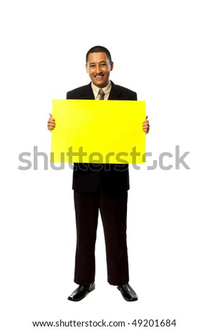 Business Man Hold A Yellow blank sign isolated on white background. You can put your message on the sign