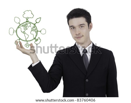 business man hold green world,save energy ,global warming concept