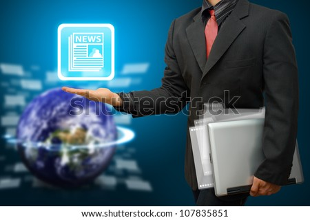 Business man hold News icon : Elements of this image furnished by NASA