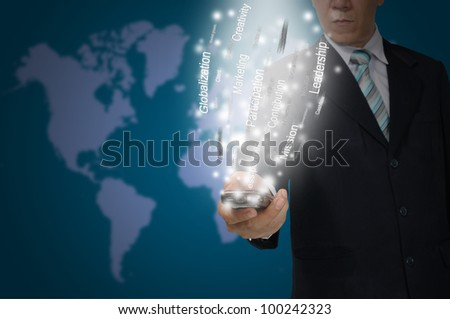 Business Man hold smartphone send the business data