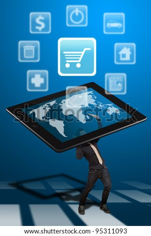 Business man hold the tablet pc and Cart icon out