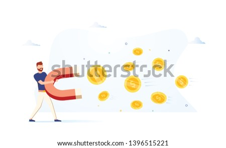 Business man holding a big magnet and attracting money. Investment attraction concept. Modern illustration. Business growth. Attract investitions startup, profit income. Business success