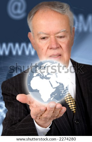 business man holding a globe on his hand