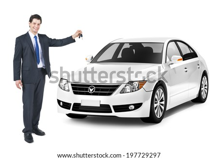 Business Man Holding a Key of the White Car #197729297