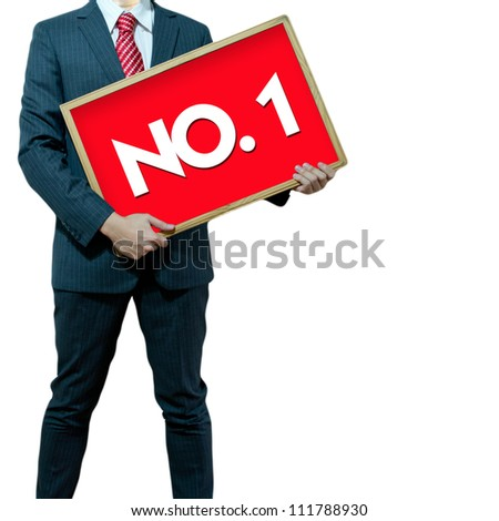 Business man holding black board winner number 1 - stock photo