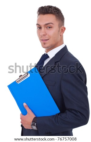 Business man holding clipboard isolated on white background