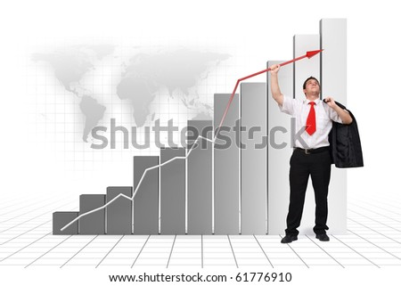 Business man holding graph arrow high up - 3d rendered image and photo combination