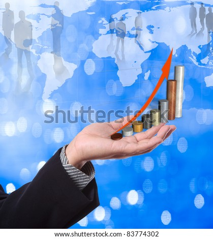 Business man holding graph with world map background