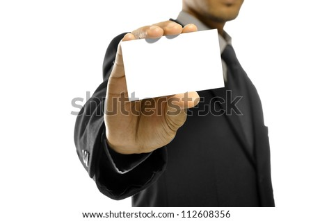Business man holding name card isolated over white background