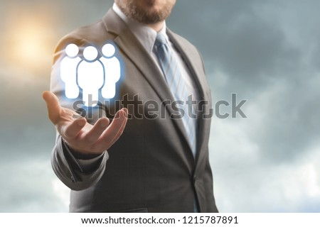 Business man holding opinion leader, team leader, market leader, Leading concepts. #1215787891